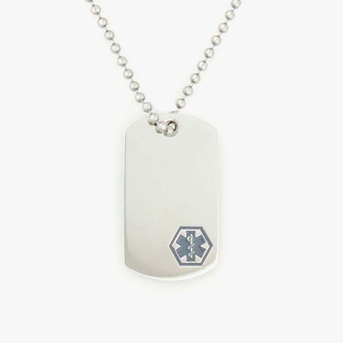 Stainless steel dog tag attached to stainless steel ball chain. Dog tag has red medical symbol on front.