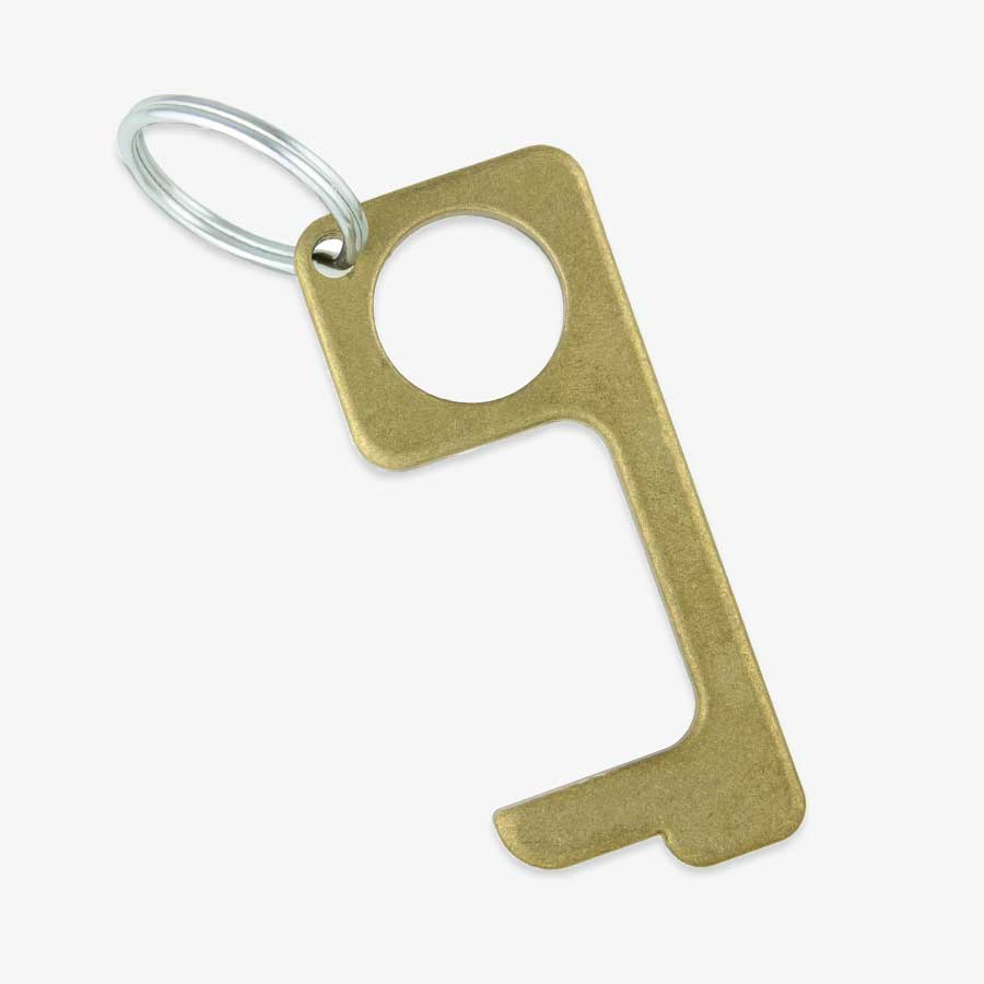 Brass CleanTouch Keychain with silver tone keyring