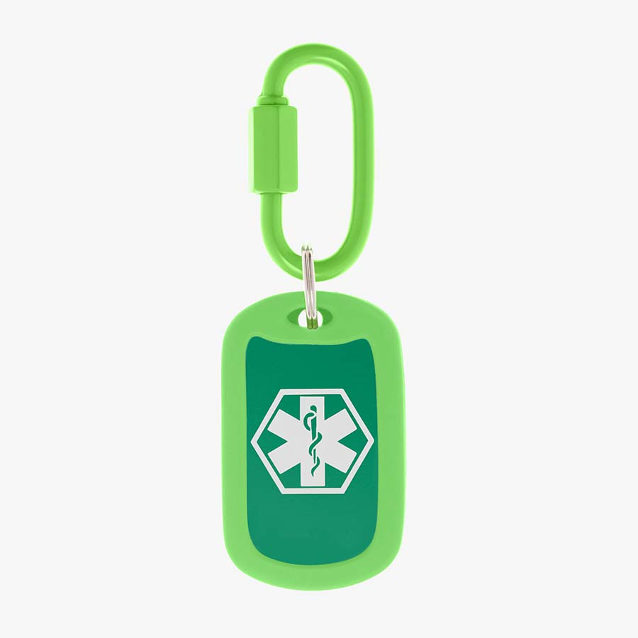 Lime aluminum bag tag with white medical symbol and coordinating silicone silencer on matching carabiner clip.
