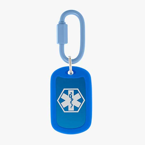 Royal blue aluminum bag tag with white medical symbol and coordinating silicone silencer on matching carabiner clip.