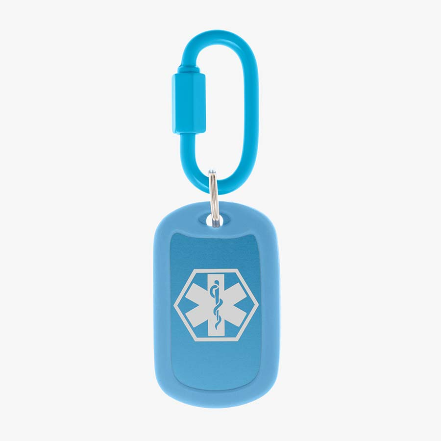 Sky blue aluminum bag tag with white medical symbol and coordinating silicone silencer on matching carabiner clip.