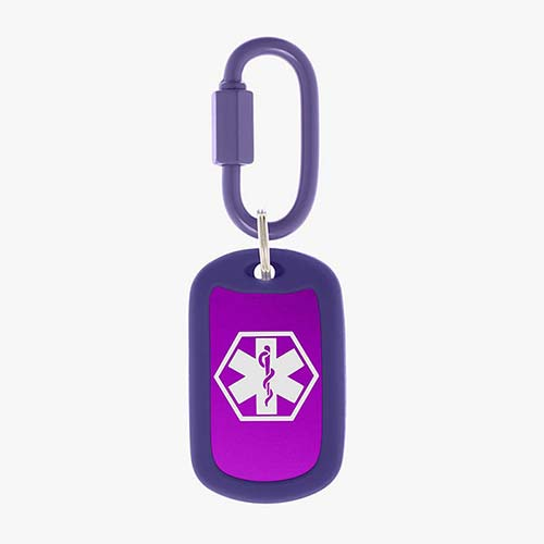 Grape aluminum bag tag with white medical symbol and coordinating silicone silencer on matching carabiner clip.